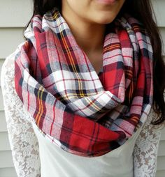 Chunky Red Plaid Infinity scarf, Warm Boho Infinity Scarf. *Back order about 3 days** Enter promo code: PIN15 for 15% off