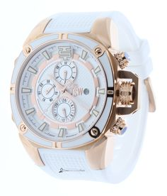 Technosport TS-100-5 Unisex Swiss Multifunction Watch GMT Rose Gold & White