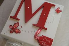 Girls Boys Personalised Keepsake Memory Box- Red - BIRTHDAY CHRISTENING BABY |