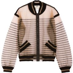 Jean Paul Gaultier Sheer Bomber Jacket (500 CAD) ❤ liked on Polyvore featuring outerwear, jackets, coats, coats & jackets, neutrals, flight jacket, blouson jacket, striped jacket, brown bomber jacket and sheer jacket