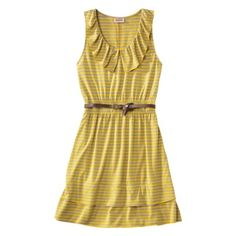 Mossimo Supply Co. Juniors Ruffle Skater Dress w/ Belt from Target . Dress Outfits, Cool Outfits, Dress Up, Skater Dress, Gold Dress, Ruffle Dress, Dresses For Work, Summer Dresses, Yellow Fashion