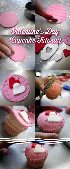 20 ideas cupcakes fondant decoration step by step Fondant Cupcakes, Cookies Cupcake, Fun Cupcakes, Cupcake Cakes, Simple Cupcakes, Cupcakes Design, Valentine Day Cupcakes, Valentines Day Cakes, Valentine Sday