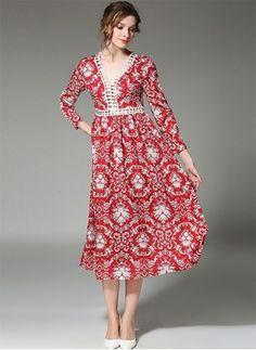 dae88c9e2d9 Polyester Floral 1040600 1040600 Sleeves Mid-Calf Vintage Dresses (1040600)    floryday