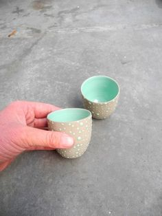 Espresso cups grey with lime green set of 2.