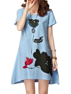 Specification  	 		 Dress Length: Mini 	 		 Season: Summer 	 		 Collar: O-Neck 	 		Material: Linen,Cotton 	 		 Pattern: Printed 	 		 Silhouette: A-line 	 		 Color: White,Pink,Sky Blue 	 		 Sleeve Length: Short Sleeve 	 		 Style: Vintage,Casual,Elegant