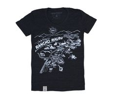0686b8bc48 Rancho Malibu: Women's Tri-Blend Jersey Short Sleeve T-Shirt in Tri-Black.  IronTree Clothing