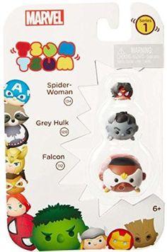 Tsum Tsum Marvel 3-Pack: Falcon/Hulk (Grey)/Spider Woman Toy Figure