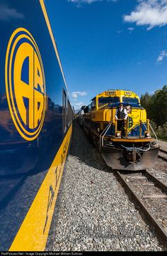 """A Friendly Meeting"" The conductor of a southbound passenger train at Gold…"