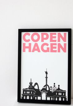 Copenhagen - by illuminantpale on Etsy Get In The Mood, Scandinavian Countries, A4 Size, Baby Family, Street Signs, Quote Posters, Homeland, Lovely Things, Travel Posters