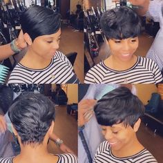 Fiona Sassy African American Boycut Short Wavy Wig With Bangs – savewig Short Pixie Wigs, Short Lace Front Wigs, Pixie Cut Wig, Short Straight Hair, Short Hair Cuts, Thin Hair, Short Black Hairstyles, Straight Hairstyles, Black Pixie Haircut