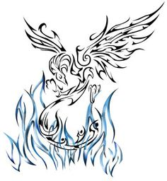 I'd like it if the phoenix's neck wasn't at such a harsh angle. But this is brilliant :) Phoenix Tattoo Design - see more designs on http://thebodyisacanvas.com