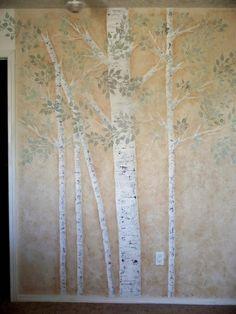 Raised Plaster Life-sized Aspen Tree Stencil Set