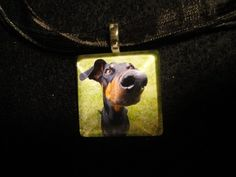 HANDMADE DOBERMAN DOG PET ART GLASS PENDANT NECKLACE JEWELRY