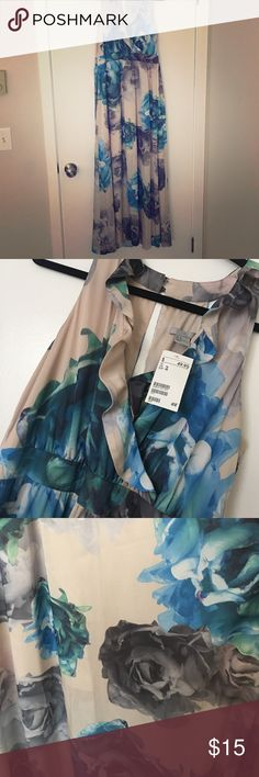 NWT H&M Floral Maxi Dress NWT H&M long maxi dress. Side zipper. Lining to knee length. Beautiful back with two buttons and slit. H&M Dresses Maxi