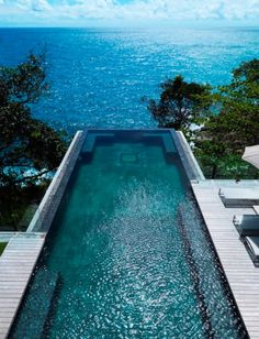 Love that the pool looks over the water
