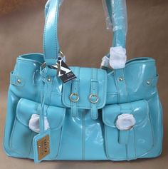 MAXX NEW YORK Aqua Blue Handbag Purse w/ Keychain & Dust Bag NEW NWT  #MAXXNewYork #ShoulderBag