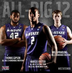 Marcus Foster,Thomas Gipson and Will Spradling earn All-Big 12 honors. Congrats guys!