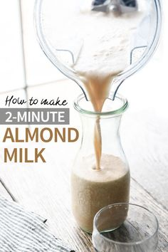 This fast & easy almond milk recipe is made with almond butter, water, and dates for a quick dairy-free milk that you don't have to strain. Use it for grain-free cereal, granola, chia pudding, smoothies and more! #almondmilk #paleo #vegan #dairyfree #healthyrecipe #easyrecipe via @Detoxinista