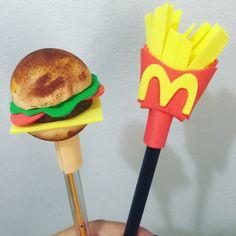 Ponteira hambúrguer e batata frita de EVA!