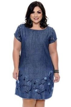 Vestidos jeans Plus Size Gilma Latest African Fashion Dresses, Women's Fashion Dresses, Casual Dresses, Casual Wear, Vestidos Plus Size, Plus Size Dresses, Plus Size Fashion For Women, Plus Size Women, Plus Size Outfits For Summer