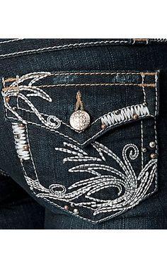 Cruel Girl® Ladies Embroidered Flap Pocket Bianca Slim Fit Jean