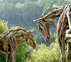 Driftwood horses in wood art with Recycled Art horse driftwood Aquarium Driftwood, Driftwood Sculpture, Horse Sculpture, Driftwood Art, Sculpture Garden, Sculptures For Sale, Animal Sculptures, Land Art, Funky Junk Interiors