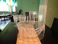 DIY wedding cake stands before adding led lights