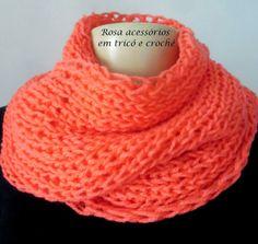Rosa acessórios em tricô & crochê: Maxi gola laranja