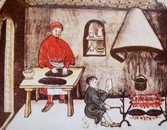 """18- cuisine médiévale au château de Cherveux. - § CUISINE MEDIEVALE: Prenez-y doresnavant garde, Et chacune de vous garde, Pour bien profiter de ce mot, De mettre trop de sel au pot"""". - La fin du XV°s est une époque où le bien manger fait partie intégrante de la vie, de la fête et du plaisir de vivre. La cuisine offre des mélanges de parfums, de couleurs et de saveurs les plus inattendus et les plus élaborés."""