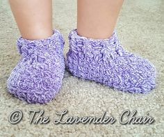 Free crochet pattern: Little Cloud 9 Slippers in 6 toddler and child sizes by The Lavender Chair