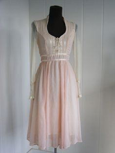 1970's Baby Pink  and Lace Gunne Sax Dress by FrenchNavyVintage, $125.00