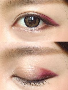 """Talking of autumn, """"Bordeaux""""! Straightforward level make-up that can be utilized proper now ♪ Asian Makeup Looks, Korean Makeup Look, Korean Makeup Tips, Asian Eye Makeup, Blue Eye Makeup, Makeup Eyeshadow, Simple Eye Makeup, Eyeliner, Makeup Trends"""
