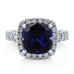 Women's 3.61 Carat CZ SAPPHIRE CUSHION Cocktail Ring Sterling Silver 4 5 6 7 8 9 #SapphireRing #SimulatedSapphireRing #CocktailRing