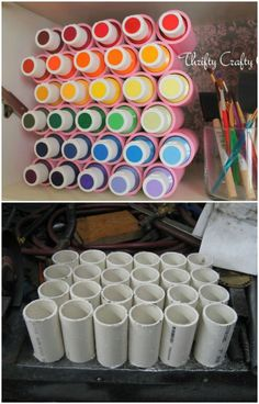 25 Life-Changing PVC Pipe Organizing and Storage Projects - craft room storage - Craft Room Storage, Craft Organization, Diy Storage, Storage Ideas, Pvc Pipe Storage, Spray Paint Storage, Organizing Ideas, Organizing Art Supplies, Acrylic Paint Storage