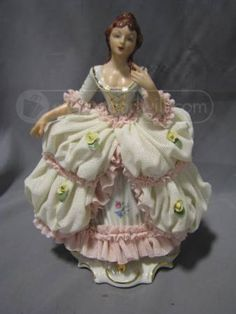 "Vintage Dresden Lace Porcelain Victorian Lady Figurine  In very good condition  There is one small part of her dress that is chipped in the fron and about an 1"" part on the back  7"" high  Made in West Germany"
