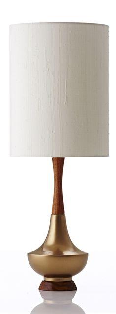 Electra table lamp in bone raw silk gold