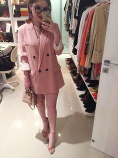 look blazer vestido pink millenium rosa