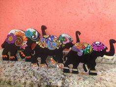 Set de Elefantes en Madera MDF pintados a Mano con técnica de Mandala. Wooden Elephant de ArteyPasion en Etsy
