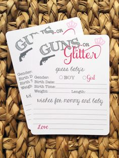 12 GUNS OR GLITTER Gender reveal baby shower wish cards by papermeblossom on Etsy https://www.etsy.com/listing/218688302/12-guns-or-glitter-gender-reveal-baby