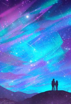 Bright as Day Art Print by zandraart - X-Small Cute Galaxy Wallpaper, Wallpaper Space, Anime Scenery Wallpaper, Aesthetic Pastel Wallpaper, Purple Flowers Wallpaper, Beautiful Fantasy Art, Kawaii Drawings, Vaporwave, Amazing Art