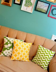These would look great with the green and white chevron table lamp by DImond and HGTV.