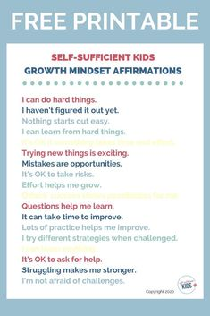 Free Printable: Get your copy of my growth mindset affirmations for kids and help nurture a growth mindset in your children. Growth Mindset For Kids, Growth Mindset Quotes, Parenting Quotes, Parenting Advice, Kids And Parenting, Printable Activities For Kids, Free Printables, Physical Activities, Affirmations For Kids