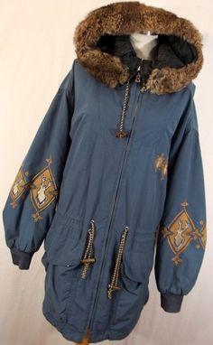 Bogner parka fur lined hood 10 blue long embroidered stag deer womens zipper  #Bogner #Parka