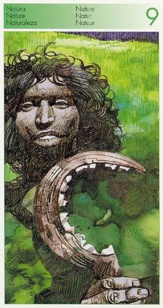 Nine of Wands (Nature) - Tarot of the Origins by Sergio Toppi.
