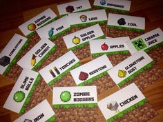 Minecraft Party Creeper Set Food Tent Signs PDF, (Set Two) 18 Tents, DIY