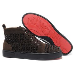 ee584c09ad90 Christian Louboutin Louis Spikes High Top Sneakers Chocolate - Cheap Christian  Louboutin Outlet