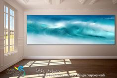 Room Inspiration- Blue Ocean Waves On The Beach Panoramic. Original limited…