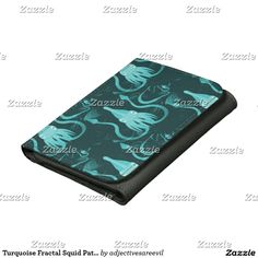 Turquoise Fractal Squid Pattern Wallet