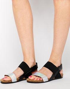 bb3753b3a76 New Look Wide Fit Flash Black Footbed Sandals at asos.com