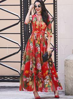 Shop Chiffon Floral Print Waist Maxi Dress at EZPOPSY. Modest Dresses, Casual Dresses, Summer Dresses, Maxi Dresses, Ladies Dresses, Long Dresses, Cheap Dresses, Formal Dresses, Floral Chiffon Maxi Dress